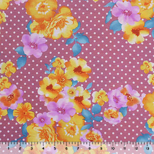 Golden Lilac Floral Polka Dot on Deep Mauve Cotton Jersey Spandex Blend Knit Fabric