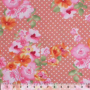 Orange Pink Floral Polka Dot on Salmon Cotton Jersey Spandex Blend Knit Fabric