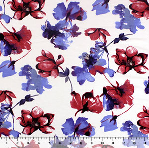 Marsala Violet Watercolor Floral on White Cotton Jersey Spandex Blend Knit Fabric