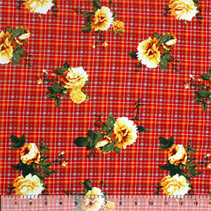 Vintage Golden Floral on Red Orange Plaid Double Brushed Jersey Spandex Blend Knit Fabric