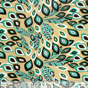 Emerald Black Mod Peacock Feathers Cotton Jersey Spandex Blend Knit Fabric