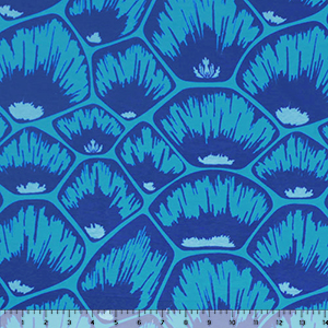 Blue Mod Feather Shells on Blue Cotton Jersey Spandex Blend Knit Fabric