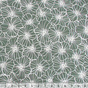 Sage Green Thyme Floral Outlines Modal Cotton Spandex Knit Fabric