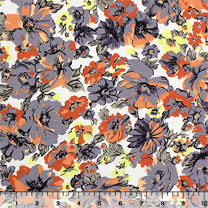 Gray Peach Floral Garden Modal Cotton Spandex Knit Fabric