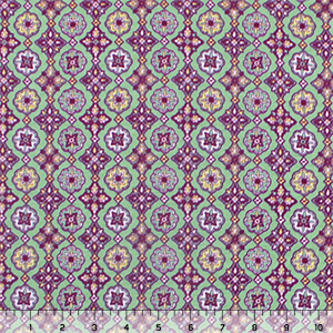Lemon Plum Floral Tile Rows on Sage Modal Cotton Spandex Knit Fabric