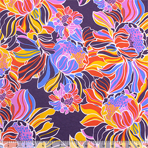 Big Colorful Botanical Floral on Eggplant Modal Cotton Spandex Knit Fabric