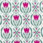Raspberry & Teal Tulips Modal Cotton Spandex Knit Fabric