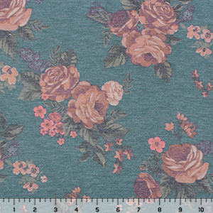 Vintage Peach Caramel Rose Floral on Heather Teal Cotton Jersey Spandex Blend Knit Fabric