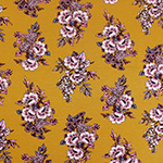 Dusty Pink Muted Botanical Floral on Mustard Cotton Jersey Spandex Blend Knit Fabric