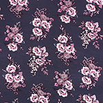 Dusty Lilac Muted Botanical Floral on Stone Cotton Jersey Spandex Blend Knit Fabric
