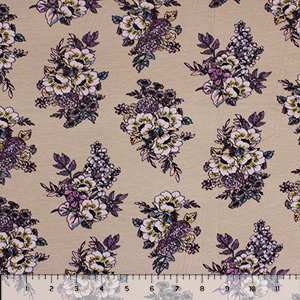 Dusty Aqua Muted Botanical Floral on Sand Cotton Jersey Spandex Blend Knit Fabric