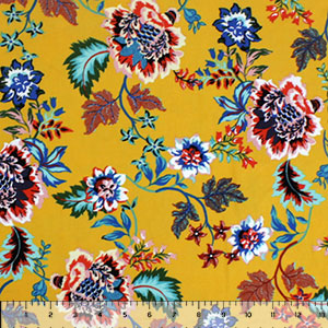 Bright Botanical Floral on Mustard Double Brushed Jersey Spandex Blend Knit Fabric