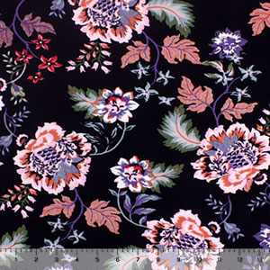 Bright Botanical Floral on Black Double Brushed Jersey Spandex Blend Knit Fabric