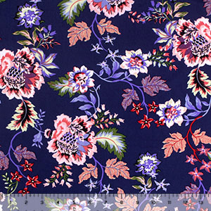 Bright Botanical Floral on Navy Blue Double Brushed Jersey Spandex Blend Knit Fabric