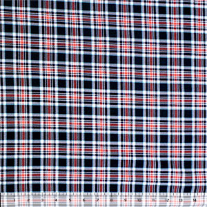 Vintage Blue Coral Aqua Small Plaid Cotton Spandex Blend Knit Fabric