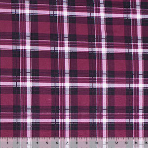 Vintage Burgundy Black Plaid Cotton Spandex Blend Knit Fabric