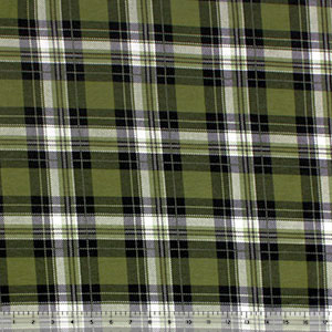 Vintage Sage Black Plaid Cotton Spandex Blend Knit Fabric