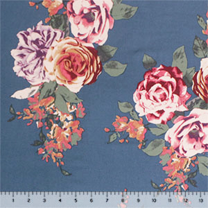 Antique Taupe Maroon Roses on Stone Blue Double Brushed Jersey Spandex Blend Knit Fabric