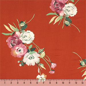 Mauve Gray Flowers on Rust Orange Double Brushed Jersey Spandex Blend Knit Fabric