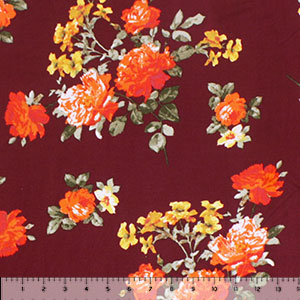 Orange Marigold Floral on Maroon Double Brushed Jersey Spandex Blend Knit Fabric