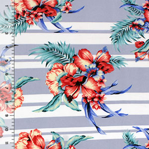 Half Yard Hibiscus Floral on Dusty Blue Multi Stripe Double Brushed Jersey Spandex Blend Knit Fabric