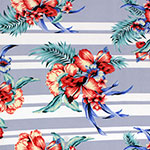 Hibiscus Floral on Dusty Blue Multi Stripe Double Brushed Jersey Spandex Blend Knit Fabric