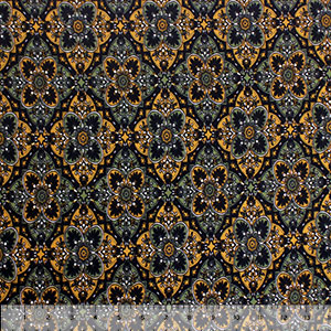 Mustard Black Floral Tiles Double Brushed Jersey Spandex Blend Knit Fabric