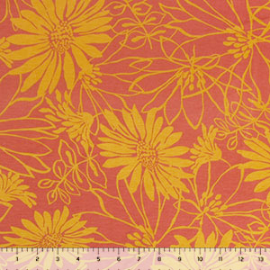 Mustard Floral on Masala Cotton Spandex Blend Knit Fabric