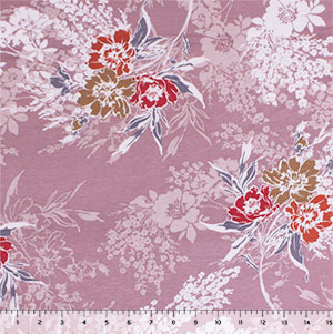 Rust Gray Floral on Dusty Thistle Cotton Spandex Blend Knit Fabric