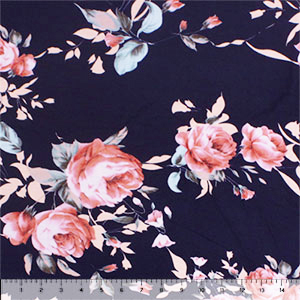 Big Pink Peach Rose Floral on Midnight Blue Cotton Spandex Blend Knit Fabric