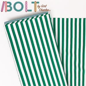 10 Yard Bolt True Kelly Green White Small Stripe Cotton Spandex Knit Fabric]