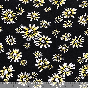 Heart Eye Skull Daisies on Black Cotton Spandex Blend Knit Fabric