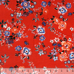 Orange Blue Floral on Poppy Red Cotton Spandex Blend Knit Fabric