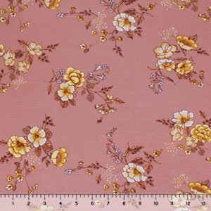Half Yard Caramel Gold Floral on Mauve Cotton Spandex Blend Knit Fabric