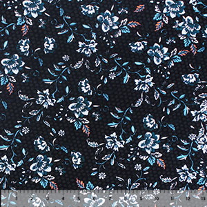 Teal Botanical Small Floral on Black Cotton Spandex Blend Knit Fabric