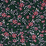 Brick Botanical Small Floral on Pine Cotton Spandex Blend Knit Fabric