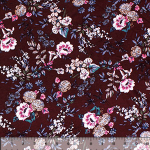 Pink Blue Peony Mum Floral on Burgundy Cotton Spandex Blend Knit Fabric