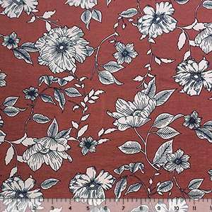 Taupe Geranium Floral on Rust Cotton Spandex Blend Knit Fabric
