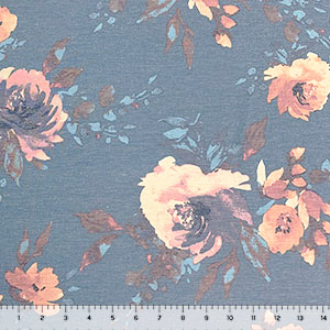 Vintage Peachy Purple Floral on Denim Cotton Spandex Blend Knit Fabric
