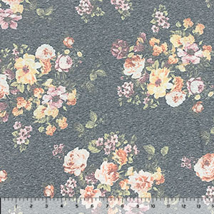 Vintage Caramel Peach Floral on Navy Cotton Spandex Blend Knit Fabric