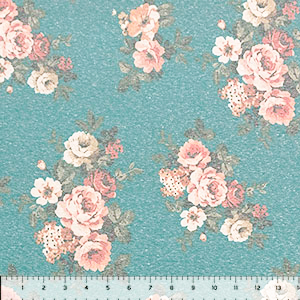 Vintage Pink Peach Floral on Teal Cotton Spandex Blend Knit Fabric