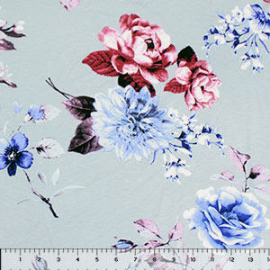 Blue Burgundy Rose Floral on Ice Blue Cotton Spandex Blend Knit Fabric