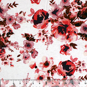 Brown Red Watercolor Floral on Oatmeal Cotton Spandex Blend Knit Fabric