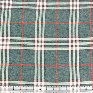 Half Yard Vintage Hunter Charcoal Rust Plaid Cotton Spandex Blend Knit Fabric
