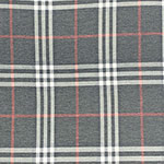 Vintage Charcoal Rust Plaid Cotton Spandex Blend Knit Fabric