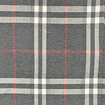 Vintage Charcoal Red Big Plaid Cotton Spandex Blend Knit Fabric