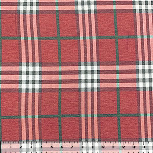 Vintage Red Charcoal Maroon Plaid Cotton Spandex Blend Knit Fabric