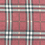Vintage Red Charcoal Rust Big Plaid Cotton Spandex Blend Knit Fabric