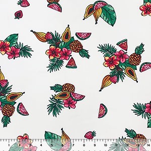 Tropical Fruits & Flowers on White Double Brushed Jersey Spandex Blend Knit Fabric