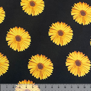 Golden Sunflowers on Black Cotton Spandex Knit Fabric